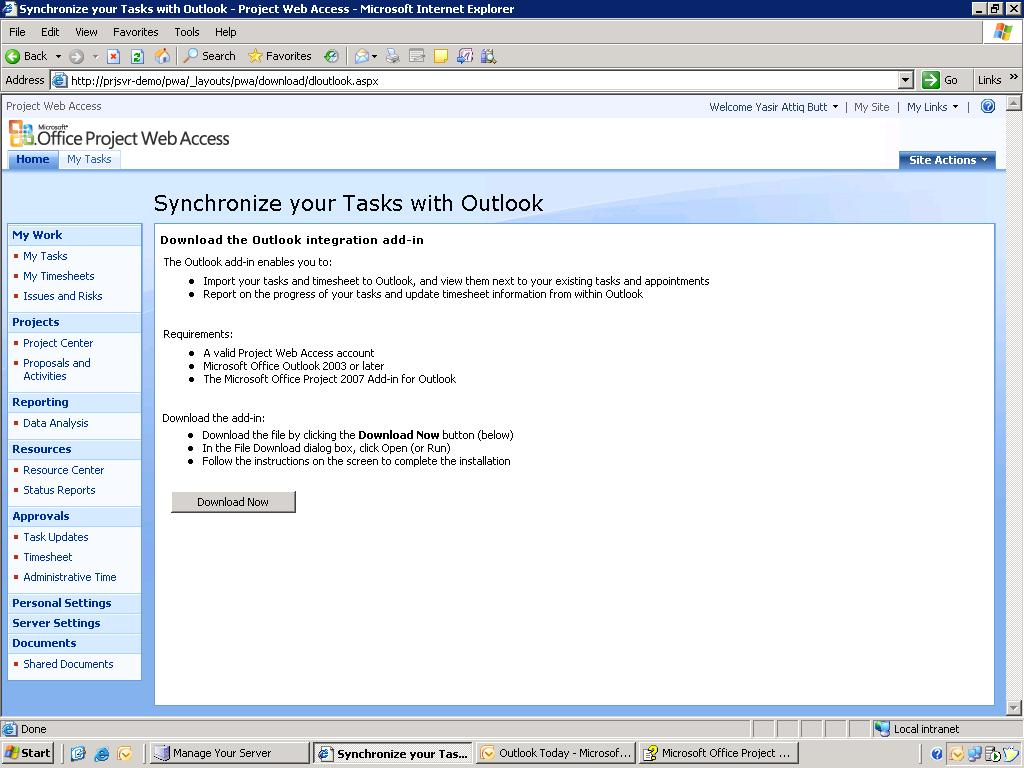 Project Web Access Integration with Outlook - RootAdmin